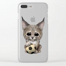 Lynx Cub With Football Soccer Ball Clear iPhone Case