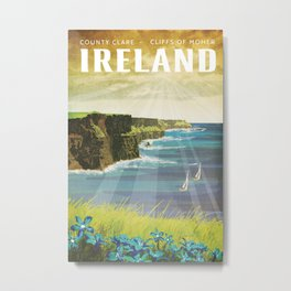 Ireland, Cliffs of Moher - Vintage Style Travel Poster Metal Print
