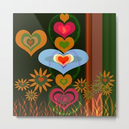 LOVE AND PEACE FLORAL PATERN Metal Print