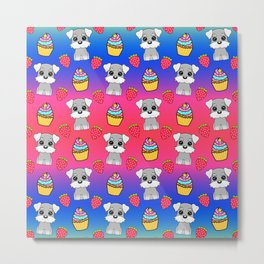 Cute happy funny baby Schnauzer puppy, sweet adorable yummy colorful Kawaii cupcakes and red summer strawberries cartoon bright raspberry pink blue pattern design Metal Print