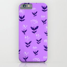 Hand Drawn Flowers on Lilac Floral Pattern iPhone Case