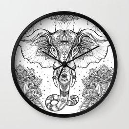 Beautiful hand-drawn tribal style elephant Wall Clock