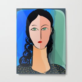 Portrait expressionist of a girl with turquoise eyes Metal Print