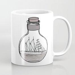 the ship in the bulb . illustration . Coffee Mug
