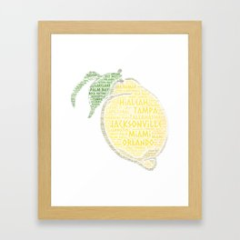 Citrus Fruit illustrated with cities of Florida State USA Framed Art Print