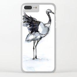 Crane, Watercolor Clear iPhone Case