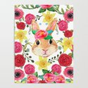 Easter rabbit with spring flowers, watercolor by magentarose