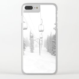 Empty Chairlift // Alone on the Mountain at Copper Whiteout Conditions Foggy Snowfall Clear iPhone Case