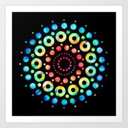 Multi-Color Mandala Tie-Dye Circle Shapes Art Print