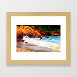 Rocks of Singing Beach Framed Art Print