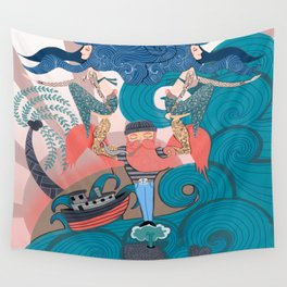 Nautical Strong Man and Sirens of the Sea Wall Tapestry