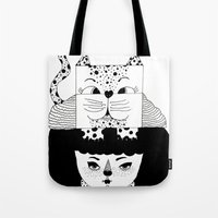 mew Tote Bags featuring mew by Jen Lin Aliaga