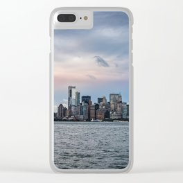 Skyline  of New York City at sunset Clear iPhone Case