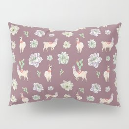 Cute Floral LLamas (taupe theme) Pillow Sham