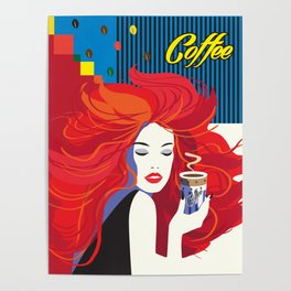 """""""Beautiful Fashion Woman and Coffee Cup"""" POP-ART poster, Retro, Design Poster"""