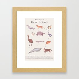 A Selection of Extinct Animals Framed Art Print