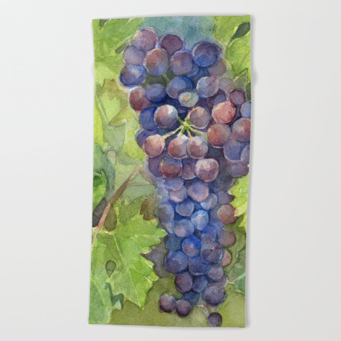 Grapes Watercolor Fruit Food Wine Lovers Beach Towel