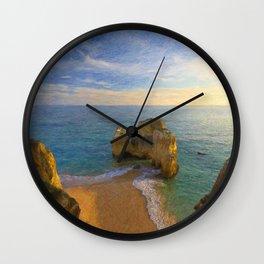 Praia da Rocha at dusk, Portugal Wall Clock
