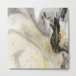 Marbled Paint Swirls in Cream, Gray and Gold Metal Print