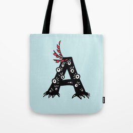 Letter A Funny Character Drawing Tote Bag