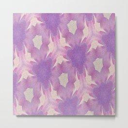 Geometric Floral Design - Purple Metal Print