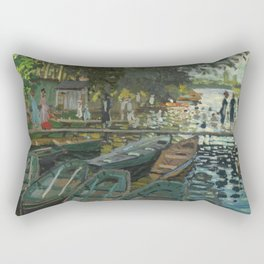 Bathers at La Grenouillere by Claude Monet Rectangular Pillow