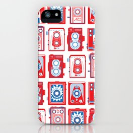 VINTAGE CAMERAS RED AND BLUE  iPhone Case