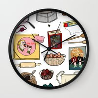 pushing daisies Wall Clocks featuring Pushing Daisies by Shanti Draws