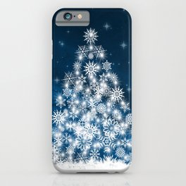 Blue Christmas Eve Snowflakes Winter Holiday iPhone Case