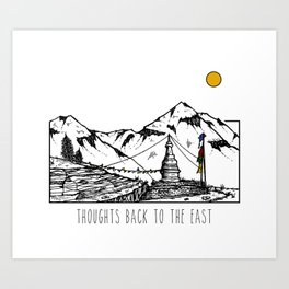 Thoughts Back To The East - Annapurnas, Nepal Art Print