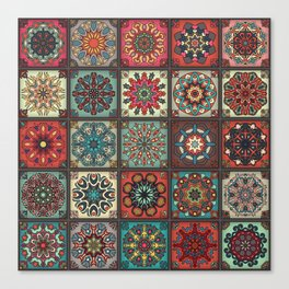 Vintage patchwork with floral mandala elements Canvas Print