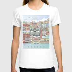Venice City Poster White LARGE Womens Fitted Tee