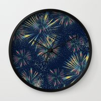 fireworks Wall Clocks featuring Fireworks! by LLL Creations