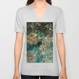 SPARKLING GOLD AND TURQUOISE CRYSTAL Unisex V-Neck