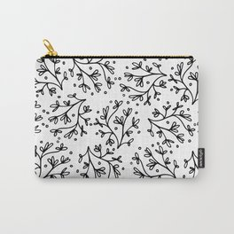 Modern hand drawn black white floral polka dots Carry-All Pouch