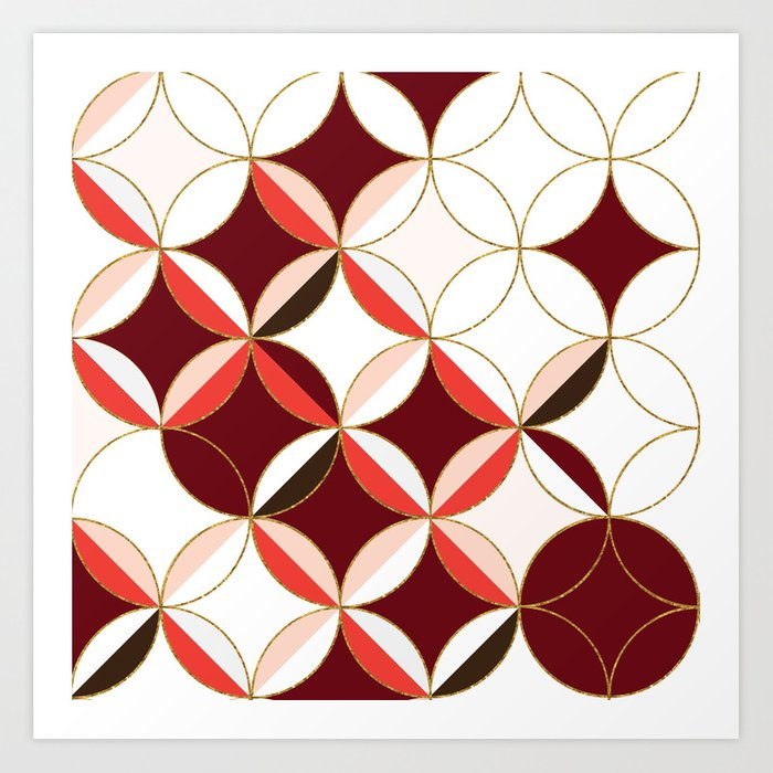 floral circle pattern inspired by mid century modern design red rh society6 com