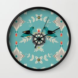 Scandi Bird Floral Turquoise Wall Clock