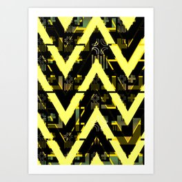 Golden abstract chevron Art Print