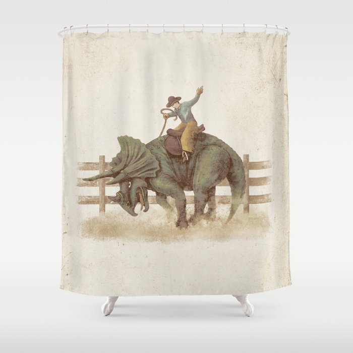Superieur Dino Rodeo Shower Curtain
