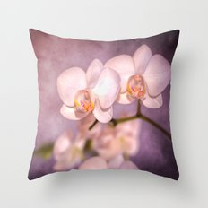 the white orchid - violet texture Throw Pillow