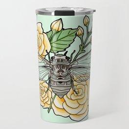 Cicada with Roses - Mint Travel Mug