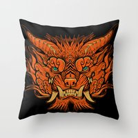 foo fighters Throw Pillows featuring Foo Dog by missmonster