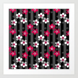 Crimson and white flowers on a black striped background Art Print