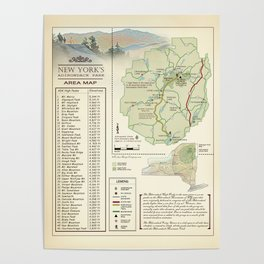 New York State Adirondack/High Peaks table [vintage inspired] Map print Poster