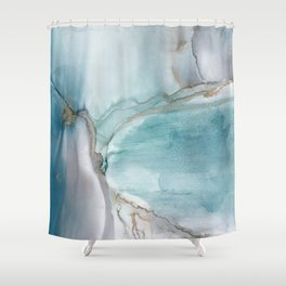Glacier - alcohol ink, teal, Prussian Blue, gray, gold color accents, fluid art Shower Curtain