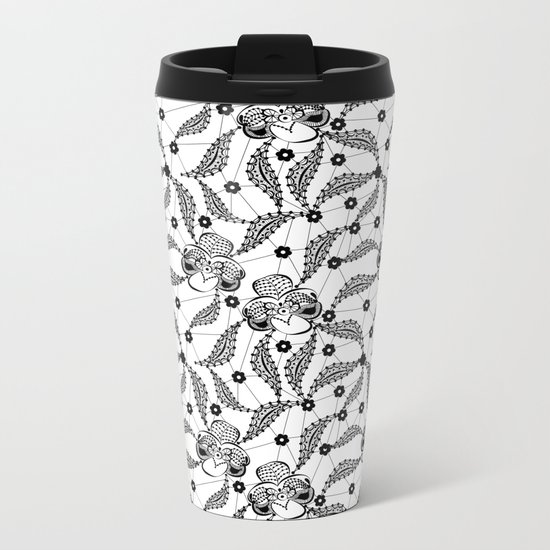 Black vintage lace . Metal Travel Mug