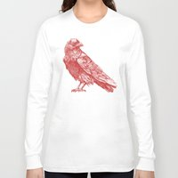 raven Long Sleeve T-shirts featuring Red Raven  by Terry Fan