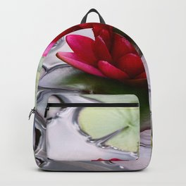 Dark Red Water Lily Backpack