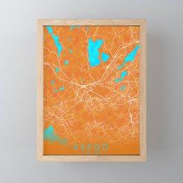 Espoo, Finland, Gold, Blue, City, Map Framed Mini Art Print