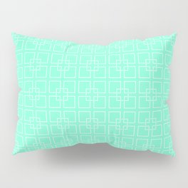 Aquamarine and White Interlocking Square Pattern Pillow Sham